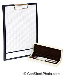 Close up of pen and blank clipboard with copy space.