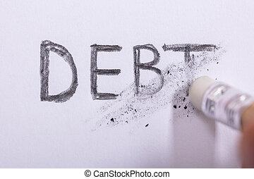 Pencil Eraser Erasing Debt Word