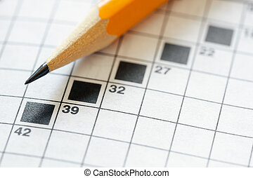 Close up of pencil on crossword puzzle. Copy space