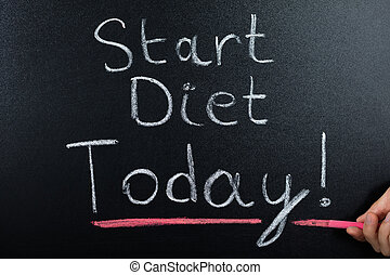 Start Diet Concept On Blackboard