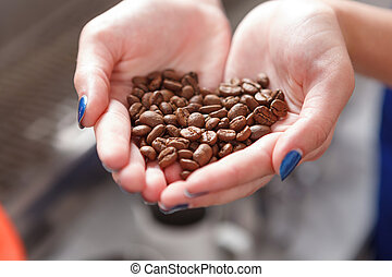 Close-up of person holding coffee beans