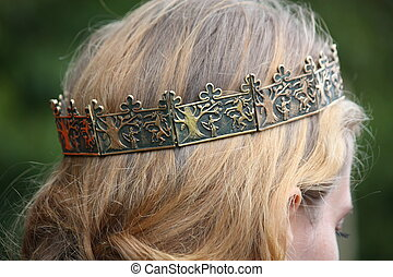 Close up of person with medieval crown