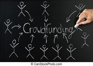 Close-up Of Person Writing Crowd Funding On Blackboard - ...