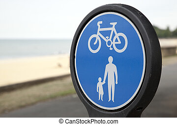 Close-up of Pesdestrian and Cycle Lane Sign