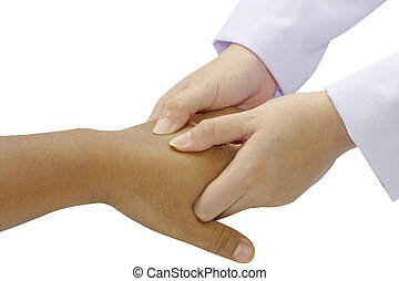 Close-up of  physical therapist giving hand massage