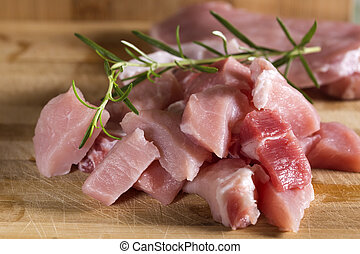 Close up of pieces of raw pork meat