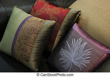 Close-up of pillows on a couch