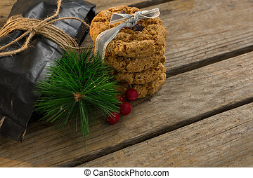 Close up of pine twig with cookies