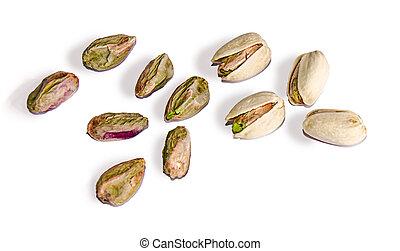 close up of pistachio isolated on white background