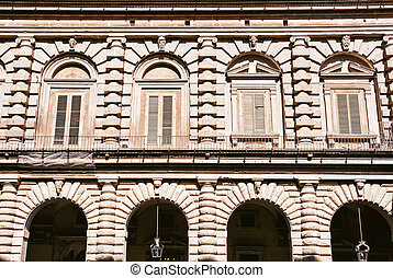 Close up of Pitti palace in Florence, Tuscany, Italy