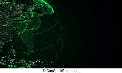 Close up of pixel 3D planet Earth with big data animation. Rotating globe, shining continents with floating numbers. Abstract cyber animation with depth of field and glow. 4K, loop UHD Pro Res