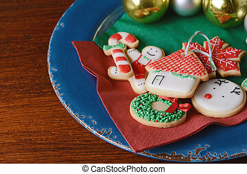 Close up of plate with colorful christmas cookies