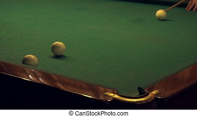 close up of playing russian billiard
