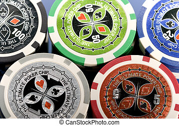 Close-up of poker chips
