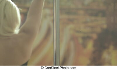 Close up of pole dancer