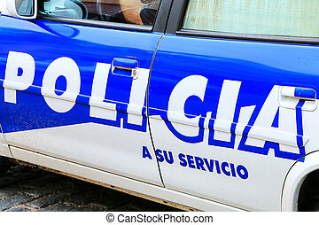 Close-up of police car in Colonia del Sacramento, Uruguay.