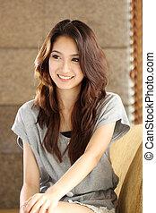portrait smiling Asian woman