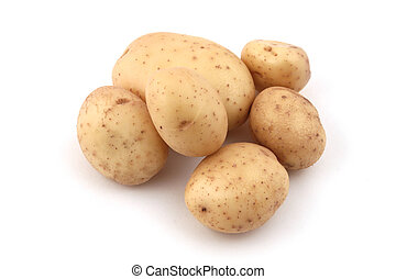 Close up of potatoes on a white background.