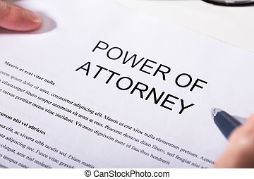 Close-up Of Power Of Attorney Form - Close-up Of A Person...