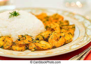 Close-up of prawn with rice