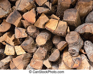 Close up of prepared firewood