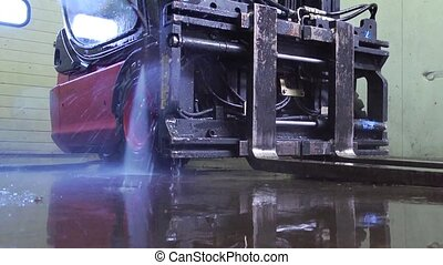 Close up of  pressure spray cleanin