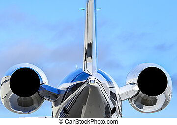 close up of private jet engines