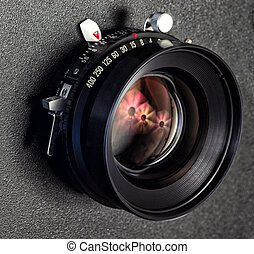 Close-up of Professional View Camera Lens