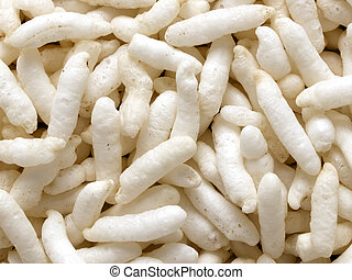 close up of puffed rice food background