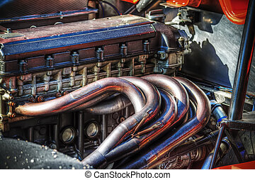 race car engine in hdr
