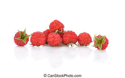 Close up of raspberry isolated on white background