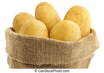 close up of raw potatoes in a jute bag