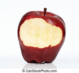 Close up of red apple with bite