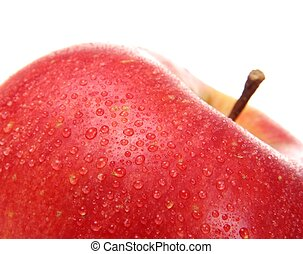 Close up of red apple with water drops isolated on white