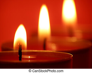 candle lights - Close-up of red candle lights on a row