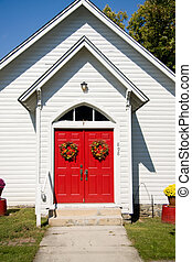 Close up of red church doors
