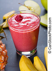 close up of red forest fruits smoothie