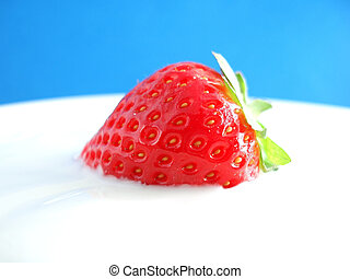 red fresh strawberry - Close-up of red fresh strawberry in ...