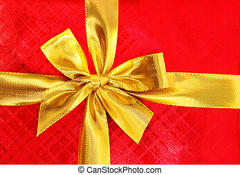 Close up of red gift box