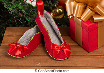 Red house slippers - Close-up of red house slippers lying ...