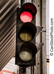 Red light at the intersection - Close up of Red light at the...