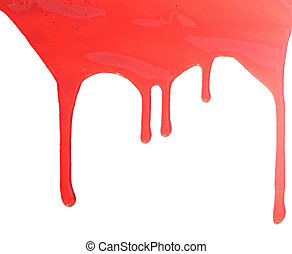close up of red paint leaking on white background