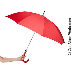 Close up of red umbrella in hand