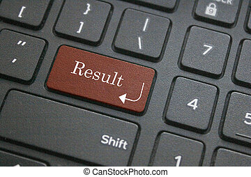 Close up of result button on computer keyboard