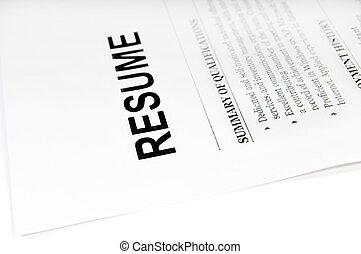resume - close up of resume form on white