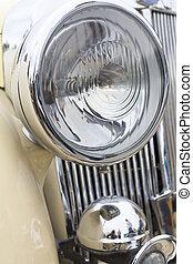Close up of retro car headlight
