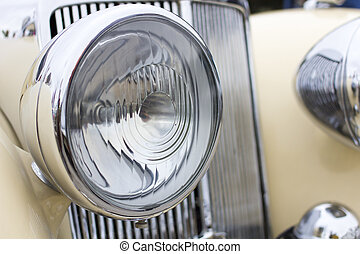 Close up of retro car headlight