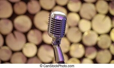 Close-up of retro microphone at concert stage