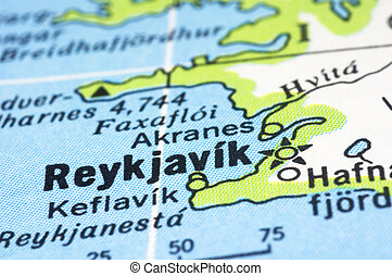 close up of Reykjavík on map, Iceland