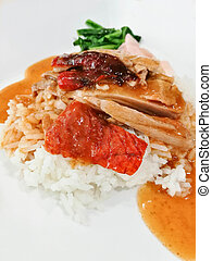 Close Up Of Rice With Roast Duck